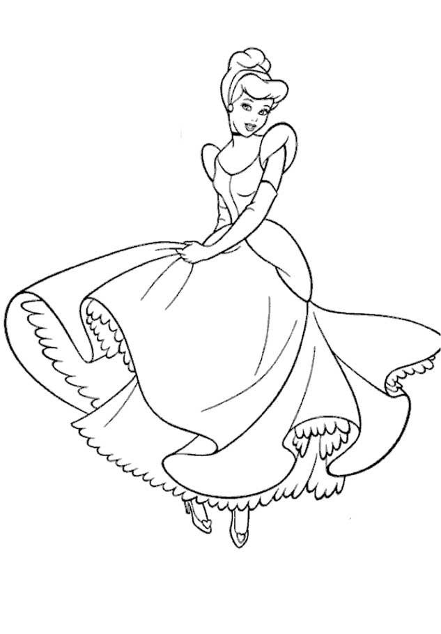princesa cinderela desenhos preto e branco para colorir