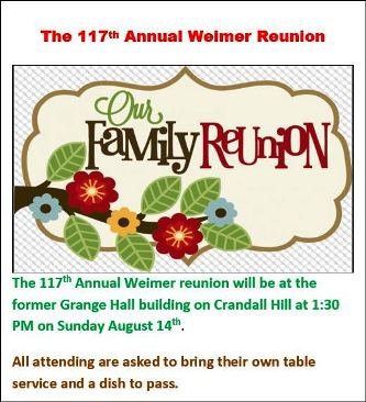 8-14 117th Annual Weimer Reunion