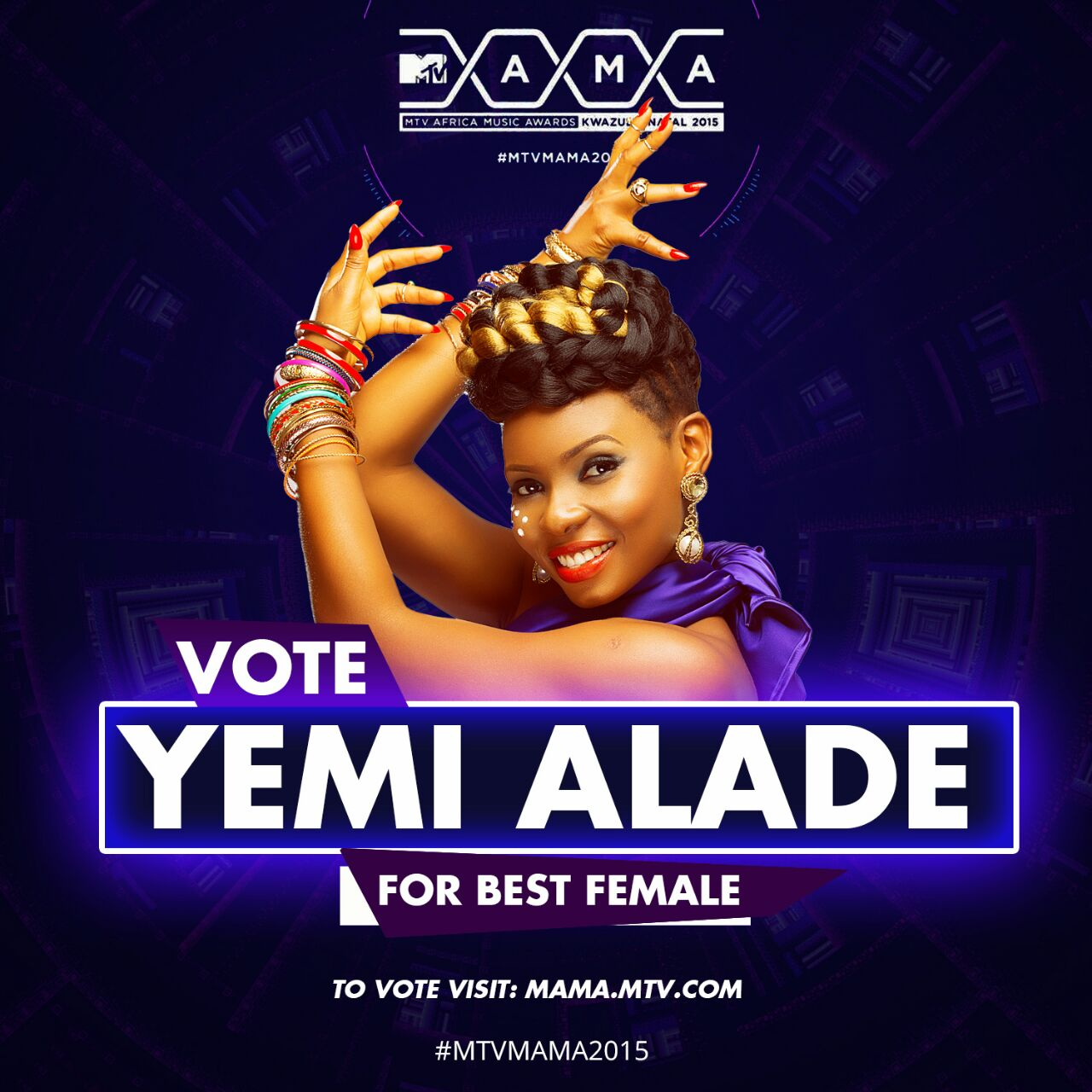 "VOTE for Yemi Alade for ""BEST FEMALE"" & ""SONG OF THE YEAR"" at #MTVMAMA2015. @yemialadee ‪#‎JOHNNY‬"