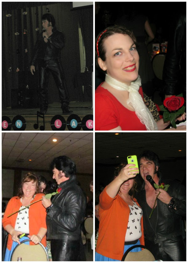 Elvis Presley impersonator, Village of Aspen Lake 50s dinner, retro themed dinner, 1950s, Suzanne Amlin