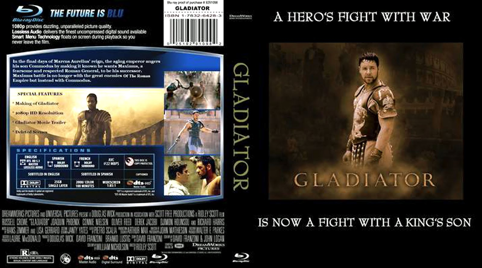 Gladiator Blu-ray Dvd Front Cover