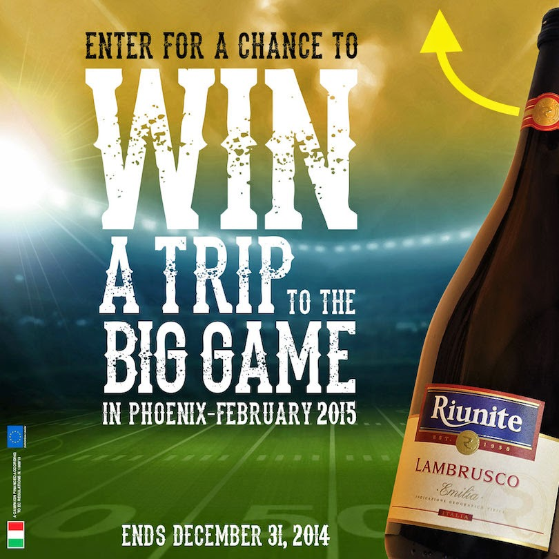 Enter the Riunite Big Game Sweepstakes. Ends 12/31
