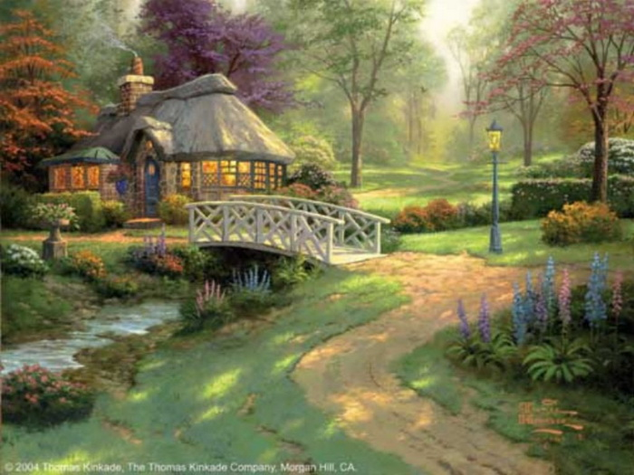 Beautiful Paint New Of Thomas Kinkade Friendship Cottage Painting Photo
