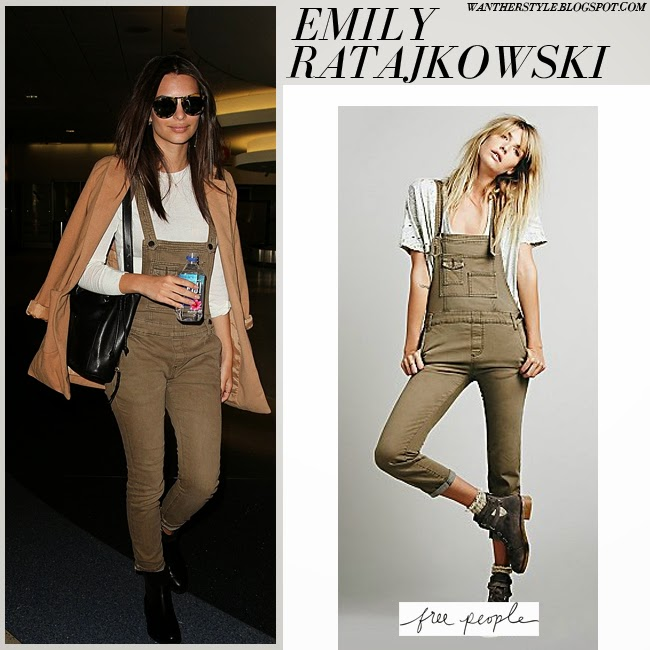 Emily Ratajkowski in khaki denim overalls Free People in Bark want her style fashion inspiration