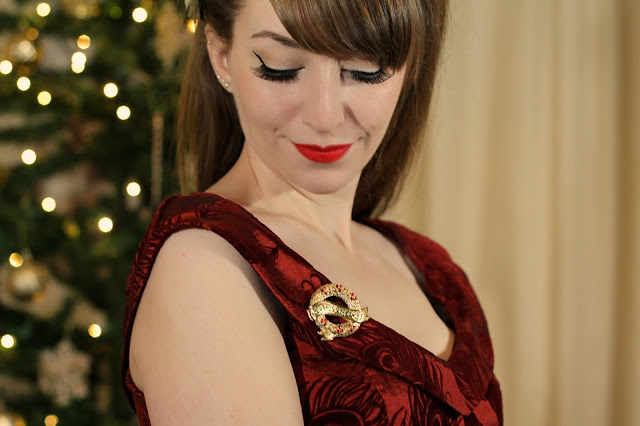 Voodoo Vixen Blair party dress with Chronically Vintage gold brooch