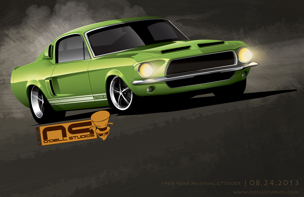 King of the Road Mustang GT500 1968 drawing, rendering, illustration musle cars