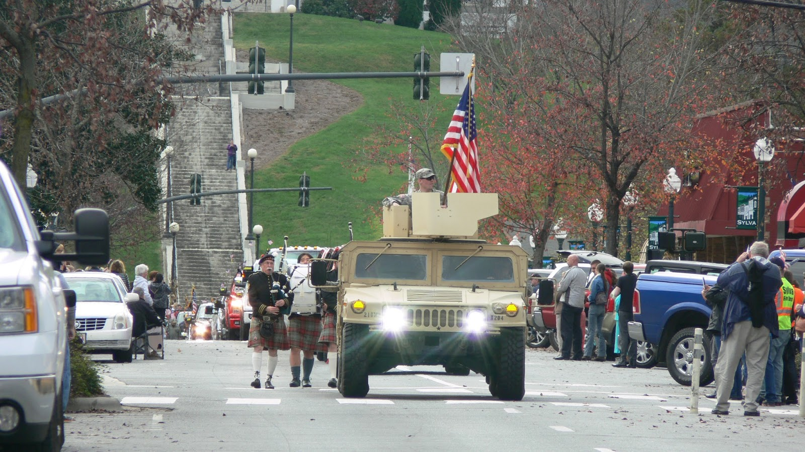 A Hummer leads the way in the Jackson County Veterans Day Parade