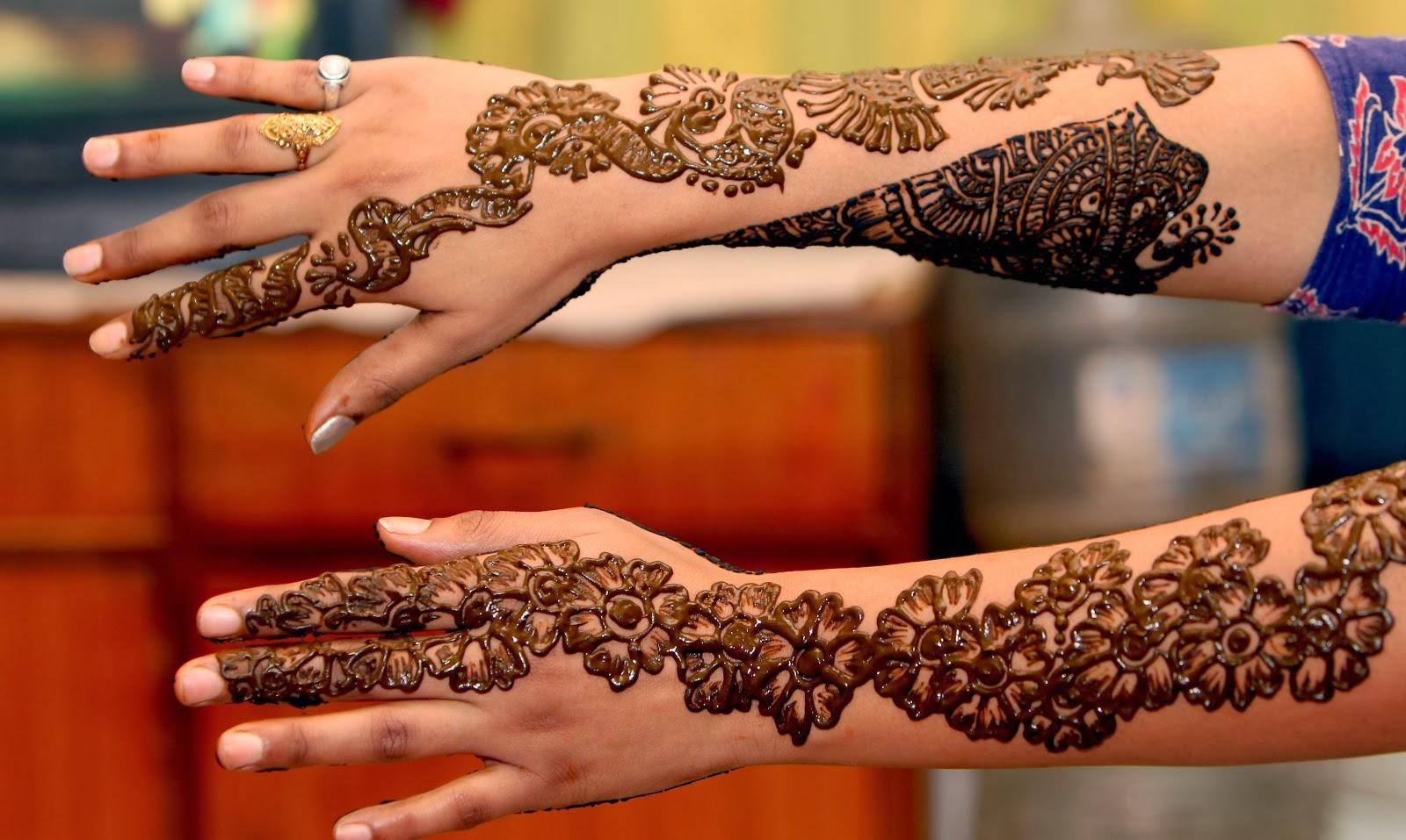 Mehndi For Right Hand Back Side : Beautiful latest simple arabic pakistani indian bridal