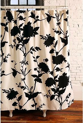 white shower curtain with elegant black flowers
