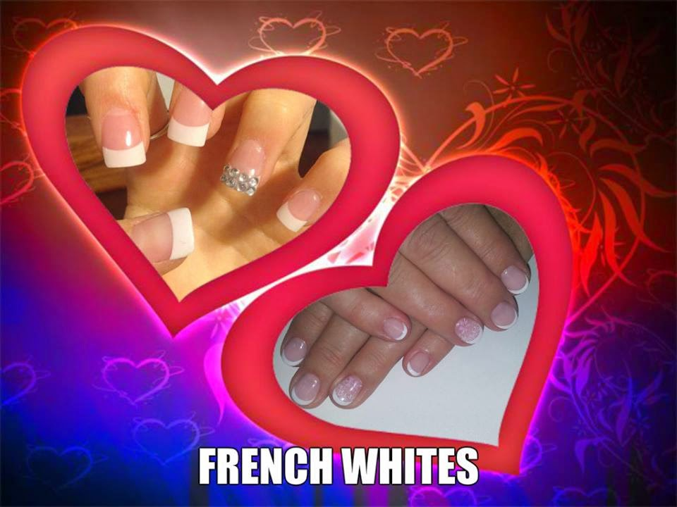 A set of French white acrylic tips and stone feats with a set of French white UV/LED hard gel nails