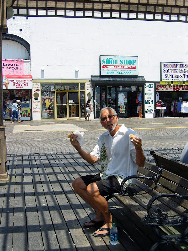 Of course, Dan had to have a hot dog on the boardwalk!  title=