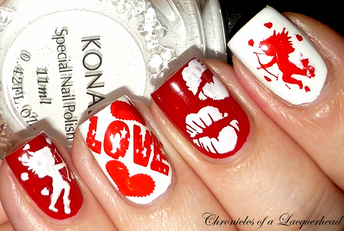 Chronicles of a Lacquerhead: Red and white love nail art