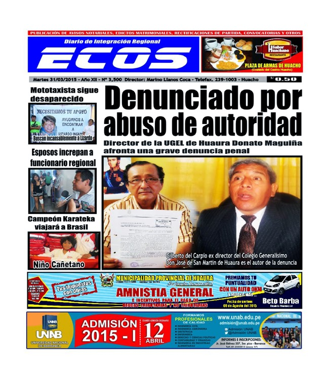 Esta es la edición de Diario ECOS martes 31 de marzo del 2015