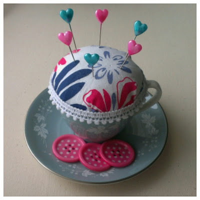 Miss Chaela Boo: Teacup pincushion DIY upcycle tutorial