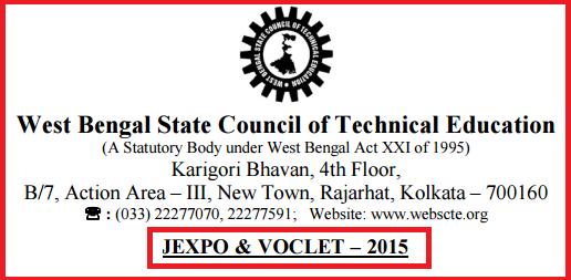 WBSCTE JEXPO-2015 & VOCLET-2015 Result | West Bengal polytechnics Admission Test Result 2015