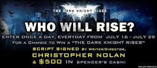 The Dark Knight Rises' Spencer's Facebook Giveaway