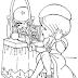Desenho de Menina se Penteando no Espelho