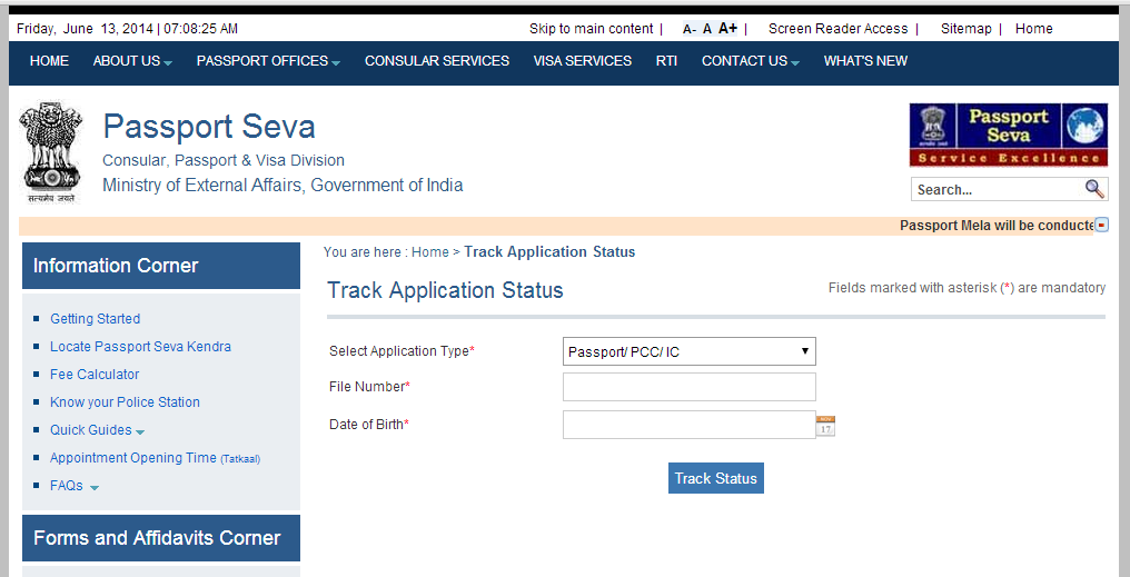 How to check passport application online