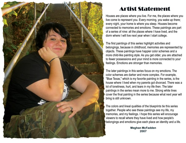 me in ART 112: more Artist Statement examples