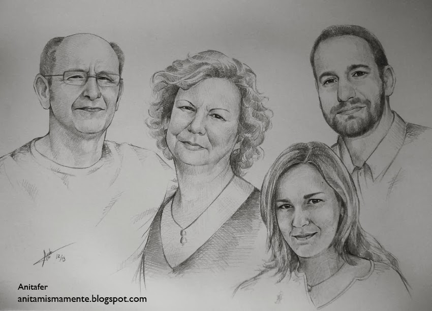 AnitaferArtist Retrato en Familia a lpiz Regalo Navideo