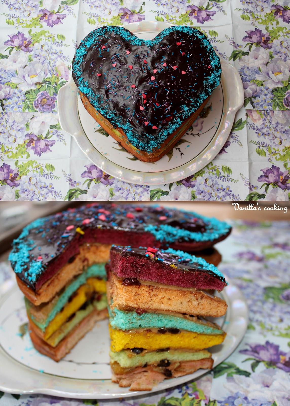 Как сделать торт с разноцветными коржами