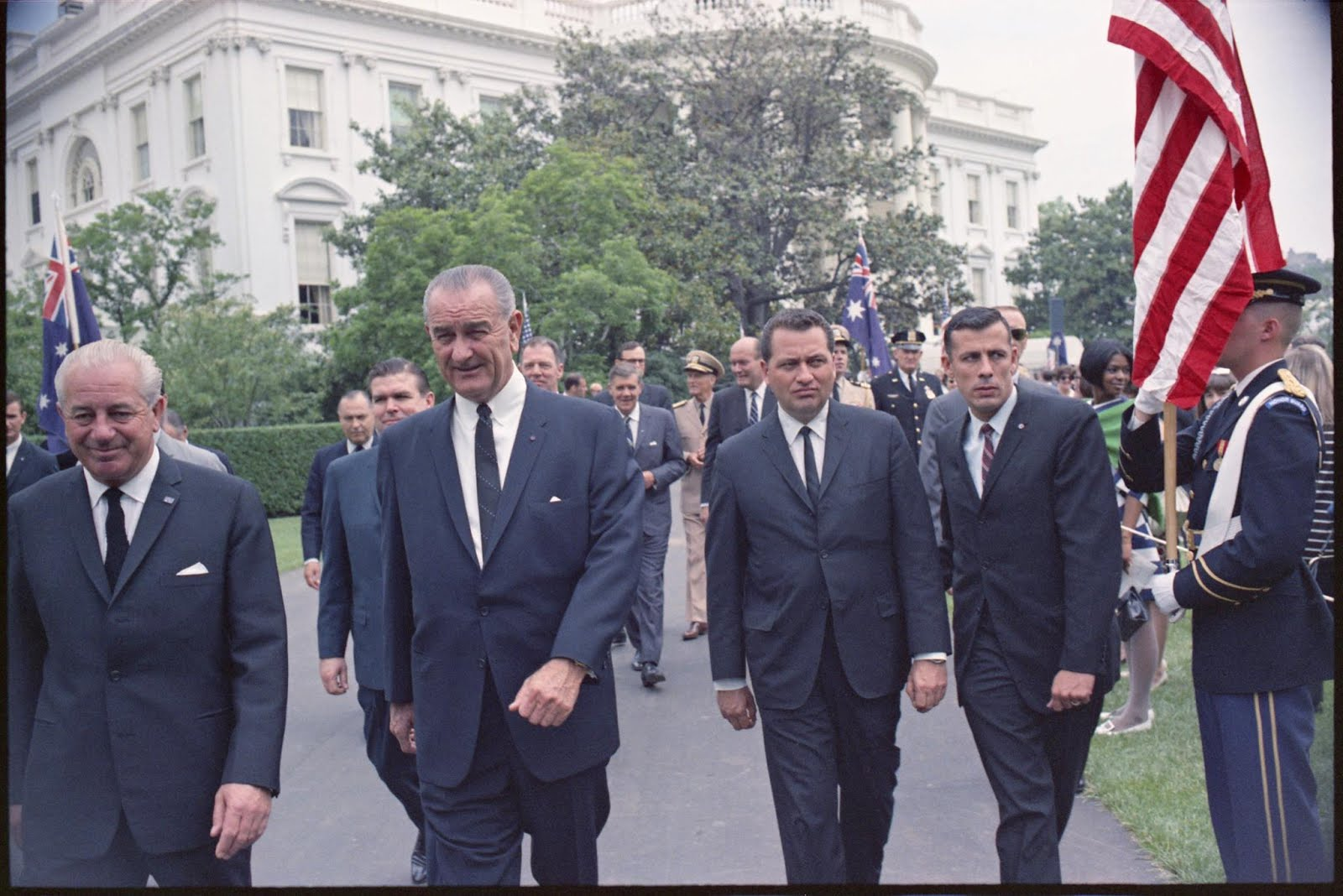 CLINT HILL AND JOHN SIMPSON WITH LBJ