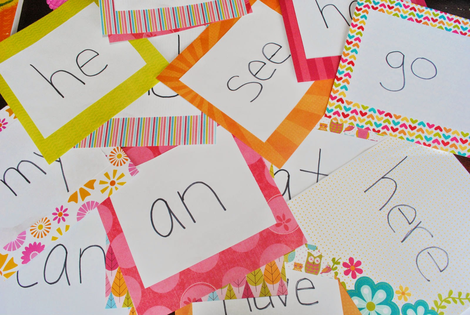 Sight Words on Decorative Paper