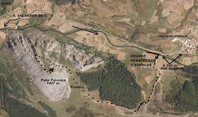 Mapa ruta a la Peña Tremaya