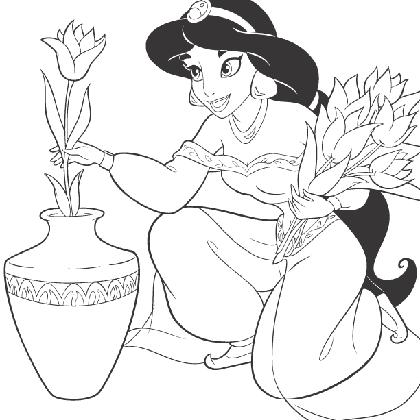share coloriage princesse jasmine prpare un bouquet here