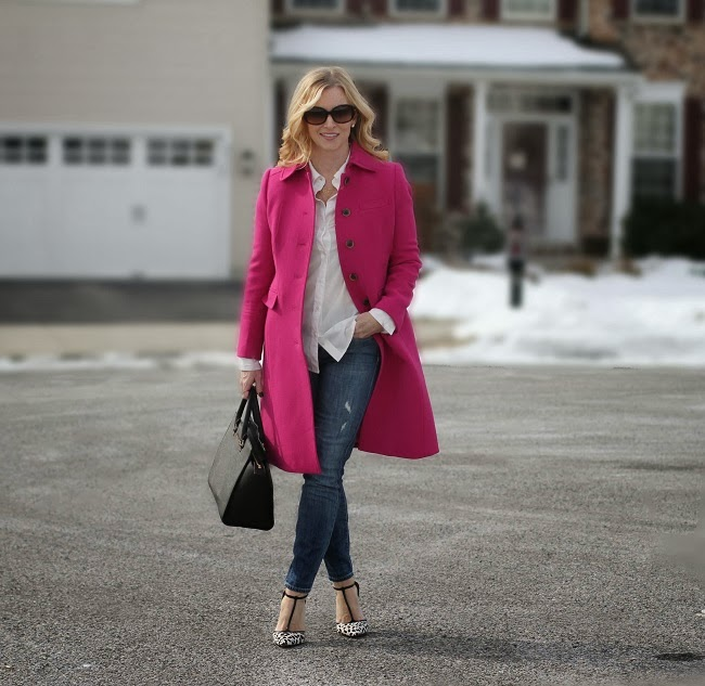 lulu looks, Vince, aquazzura, pink coat, jcrew