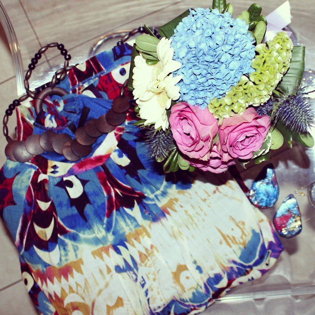 Instagram @lelazivanovic. Beautiful flowers. Tribal print dress.