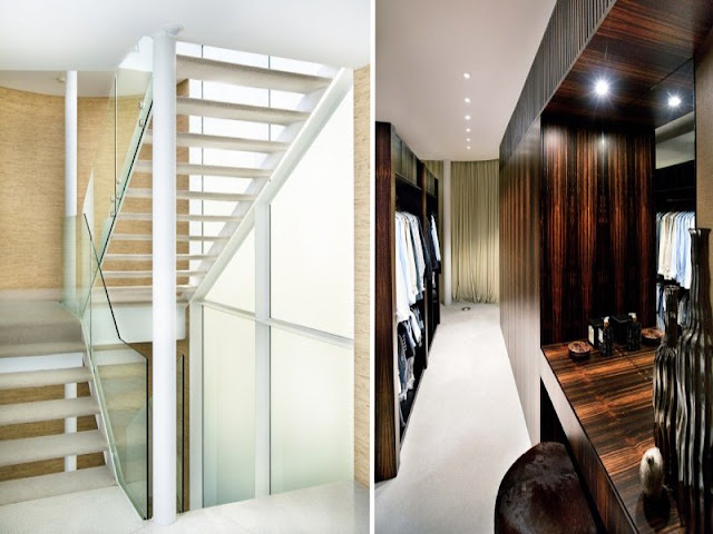 Photos of white modern staircase and dark narrow hallway