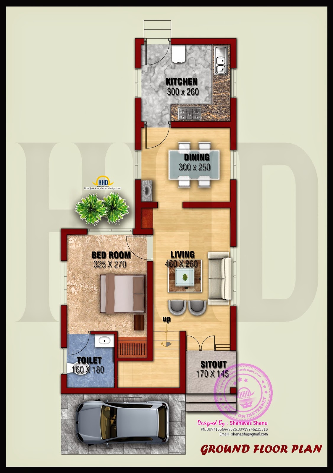 Small villa with floor plans home kerala plans for Villa design plan