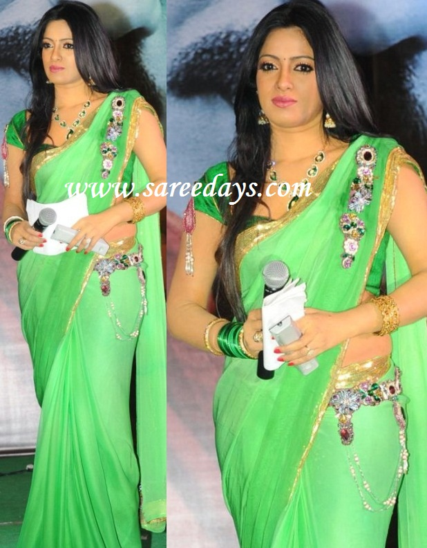 Latest saree designs uday bhanu in green designer saree uday bhanu in green designer saree altavistaventures Images