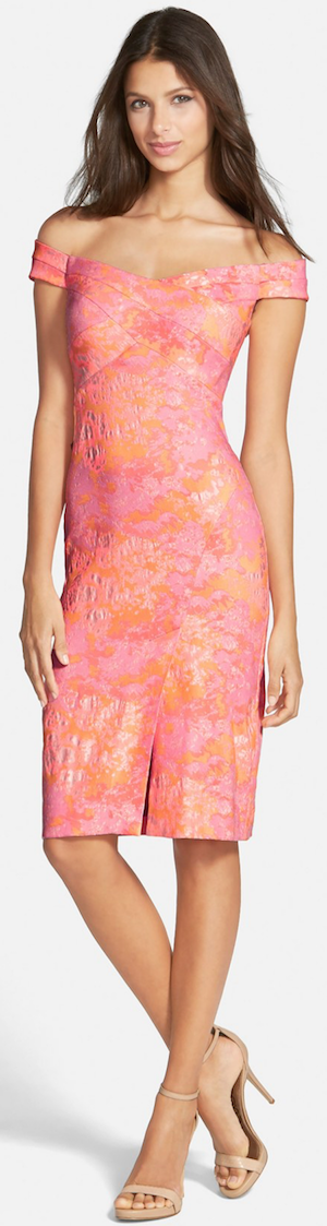 Nicole Miller Off the Shoulder Jacquard Sheath Dress