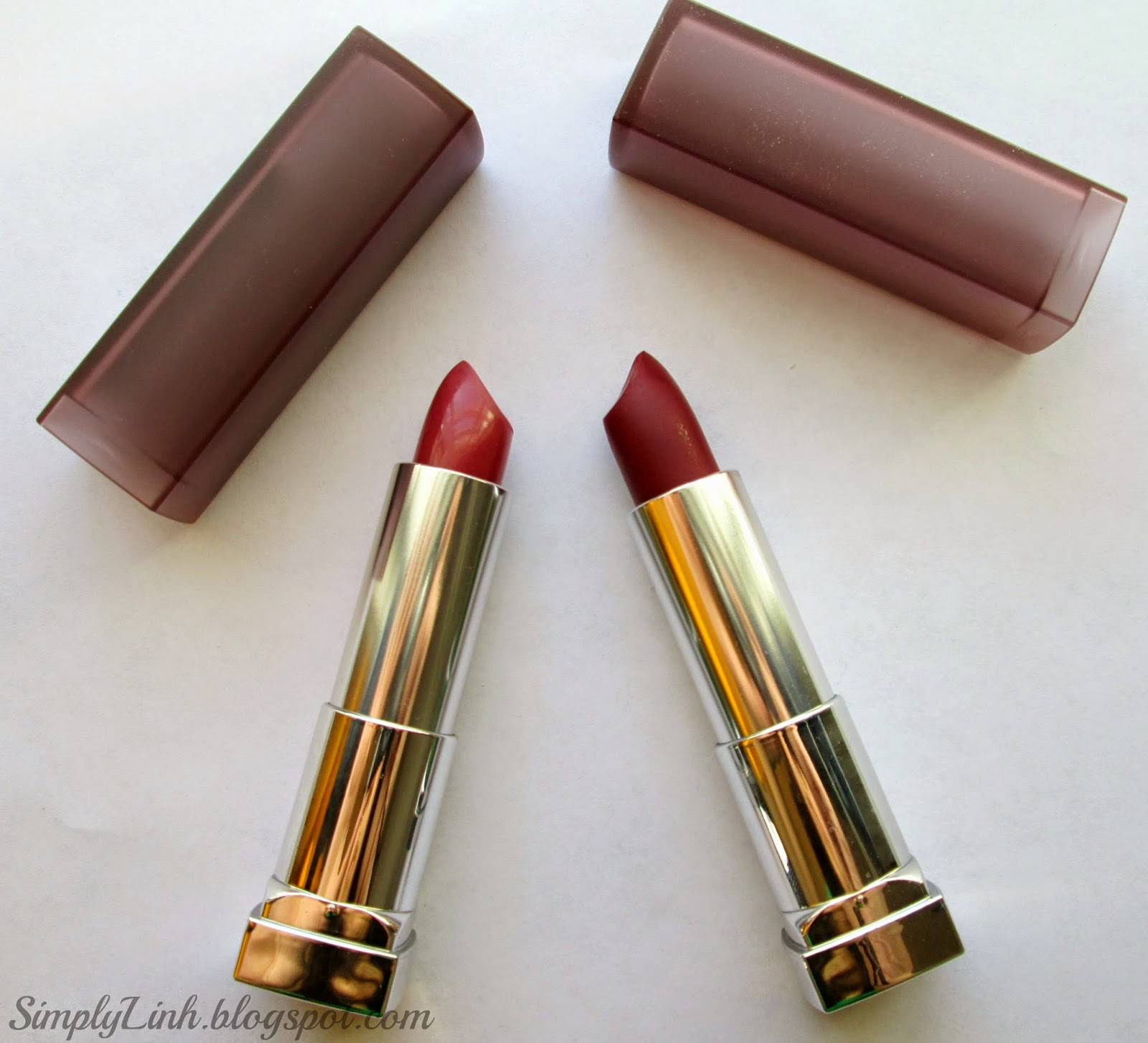 Maybelline Creamy Mattes Lipstick in 'Touch of Spice' and 'Divine Wine'
