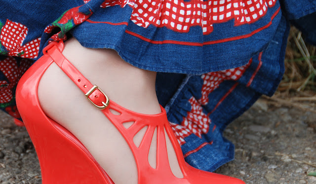 Melissa, shoes, jelly, cherry dress