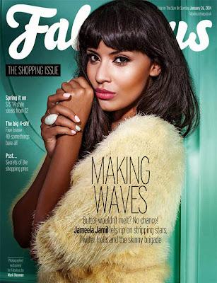 Magazine Cover : Jameela Jamil Magazine Photoshoot Pics on Fabulous Magazine UK January 2014 Issue