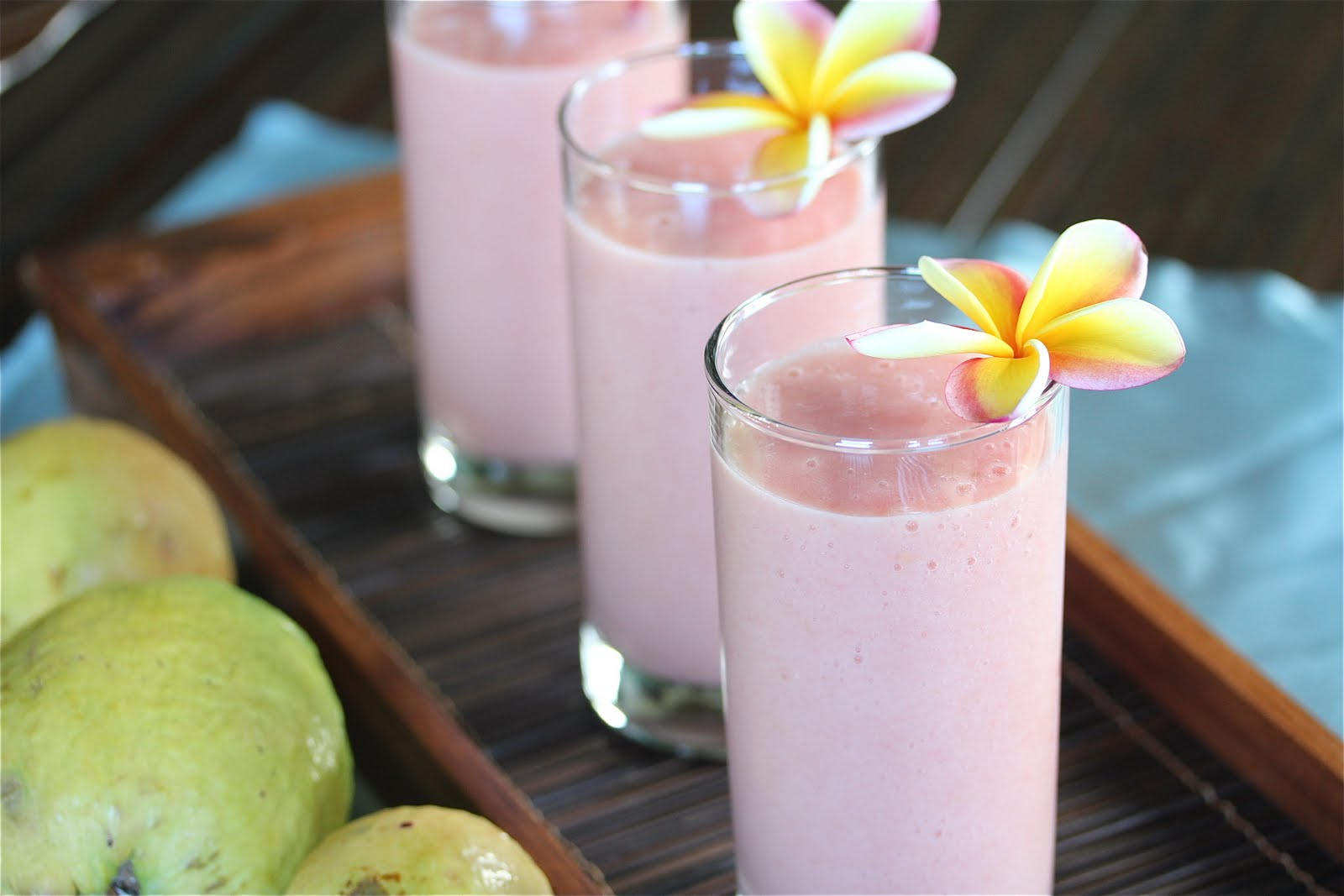 Tropical Smoothie made with fresh guava, pineapple and mango