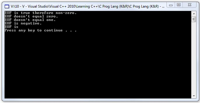 Here s the console window  C Programming Quotes