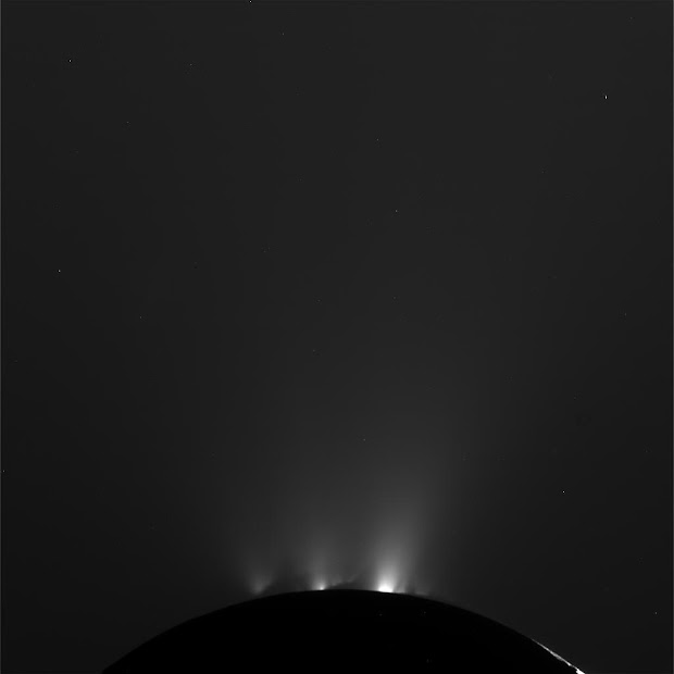 Saturn's geyser moon Enceladus as seen by NASA's Cassini