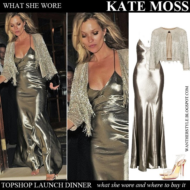f2db2f22a7b5 Kate Moss in gold lame maxi dress with gold beaded fringe jacket from  Topshop by Kate