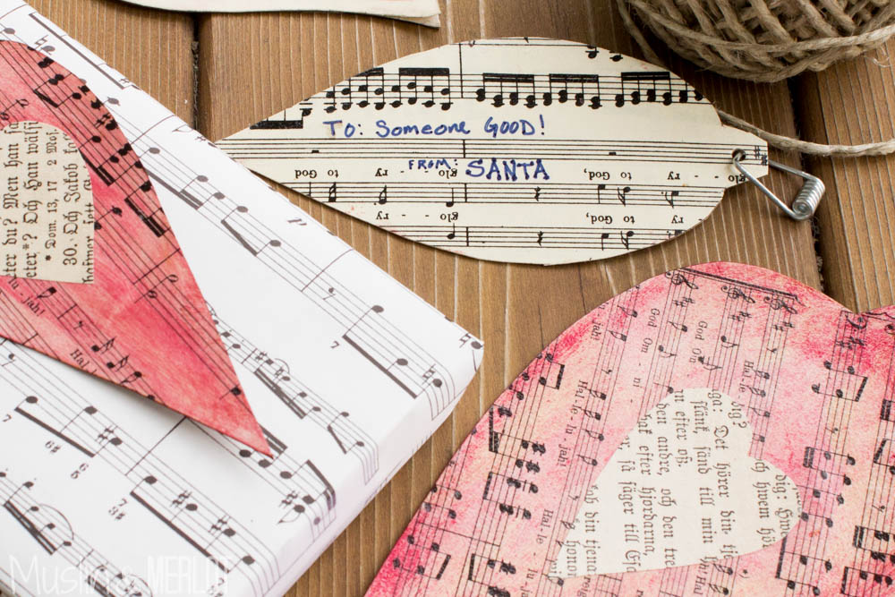 Music Paper Gift Tags! They can double as ornaments :-).