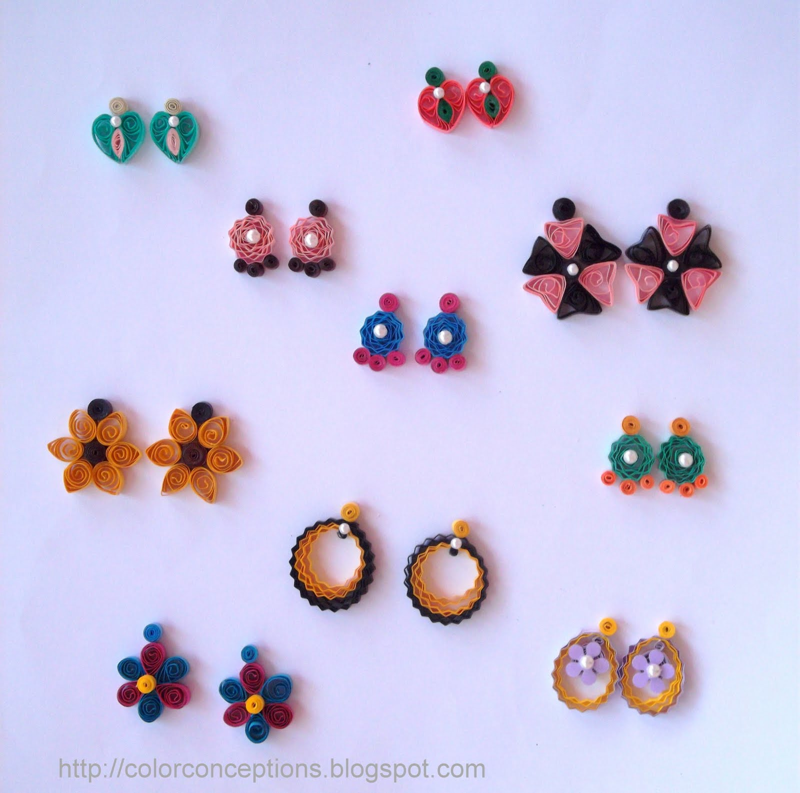 Quilling Earrings Designs Images : Color Conceptions: Quilled earrings