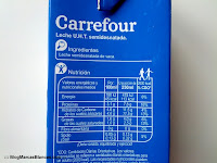 Ingredientes e información nutricional de la leche semidesnatada Carrefour.