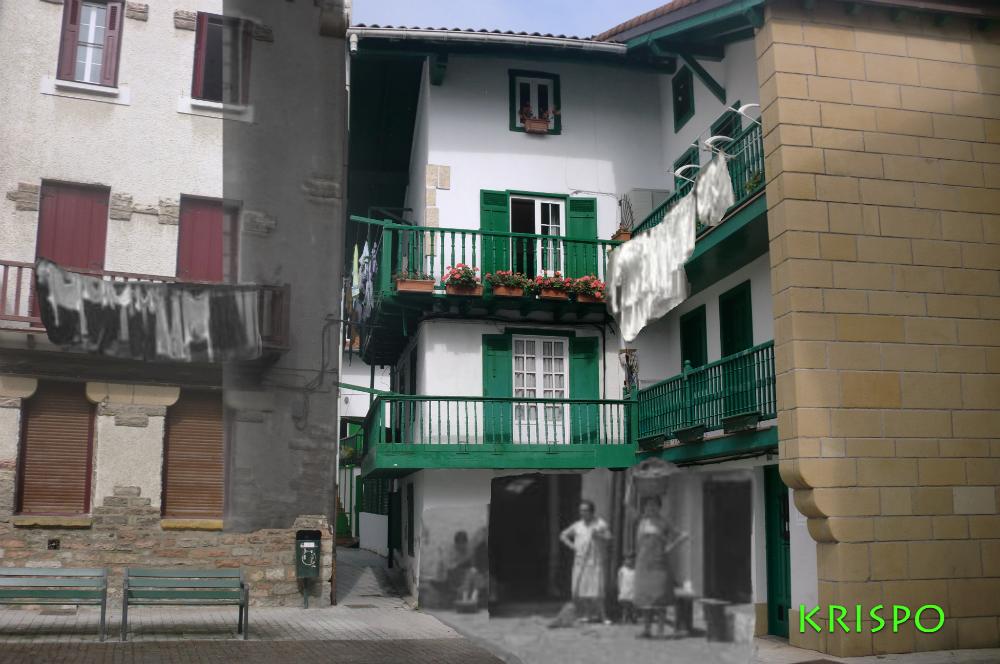 superposición de foto antigua y actual d calle santiago de hondarribia