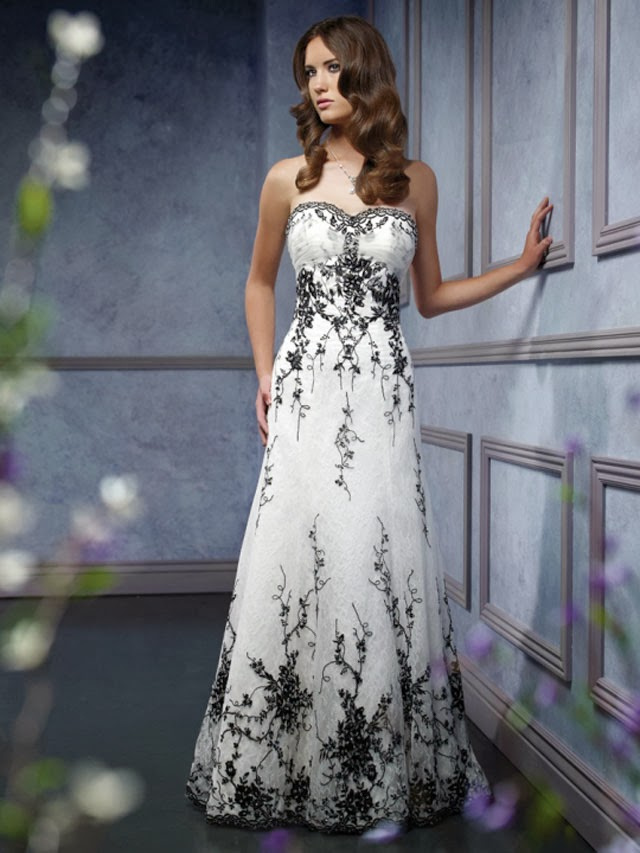 Strapless Sweetheart Black and White Wedding Dress