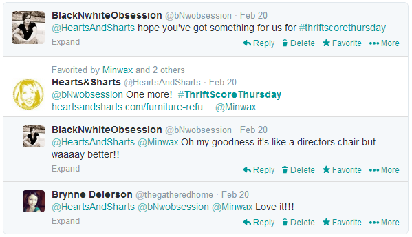 #thriftscorethursday Week 6 Twitter Conversation | www.blackandwhiteobsession.com