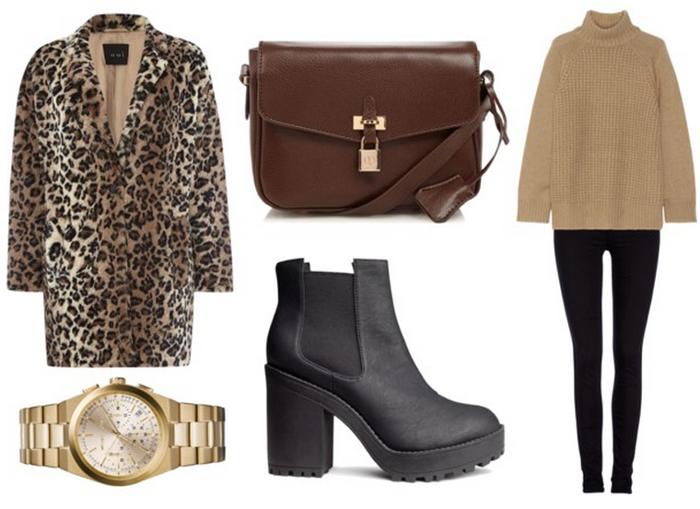 leopard coat outfit blog modowy fashion gold płaszcz w panterkę