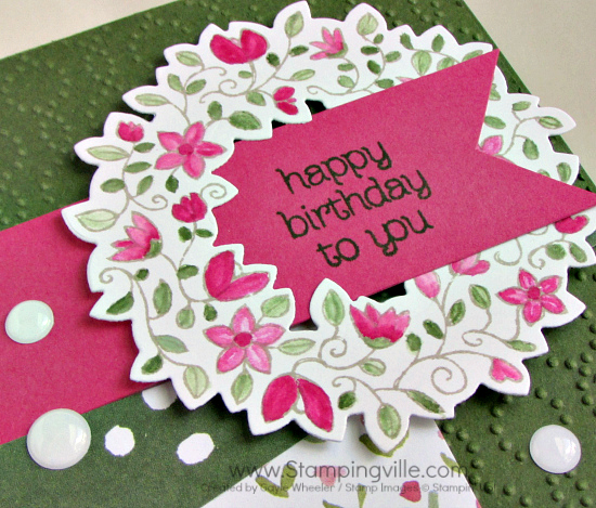 Close-up photo image of Circle of Spring stamp set die-cut wreath with birthday greeting.